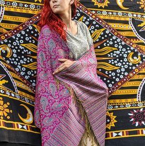 Pink & Blue Pashmina Scarf